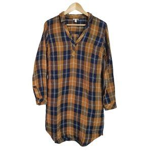 Garnet Hill Organic Cotton Flannel Plaid Dress M